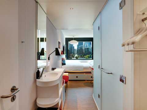 citizenM Hotel Seattle interior guest room